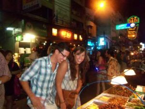 Eating bugs in Khao San road