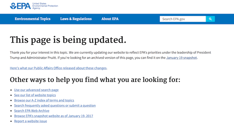 The new EPA site according to Trump's and Pruitt's agenda