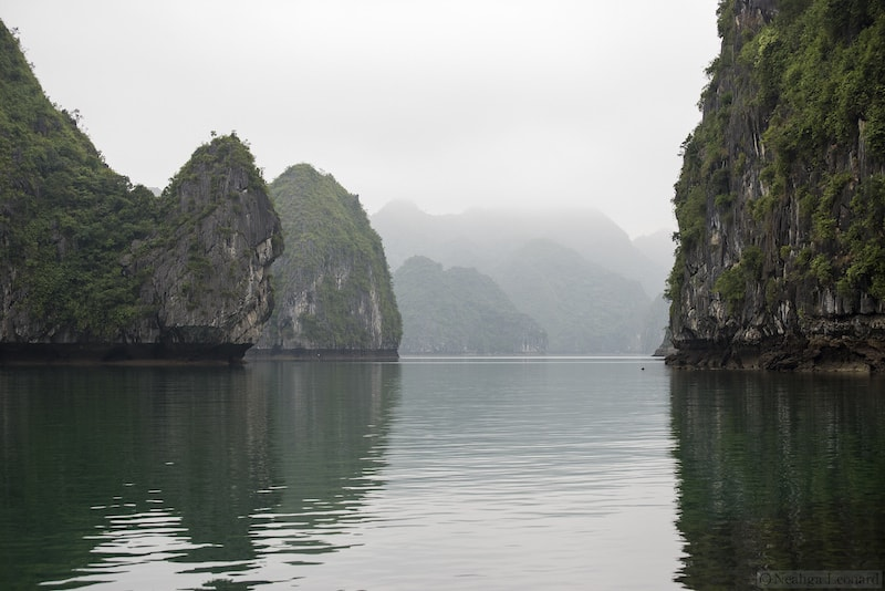 Looking into one of bays on Cat Ba Gio Cung